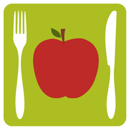 red apple: Menu restaurant icon. One red apple with cutlery silhouettes on lemon green background.  Illustration