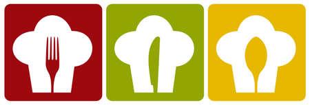 Iconos de cocinero. Patrón de silueta de sombrero de chef con cubiertos dentro de fondo diferente.  Ilustración de vector
