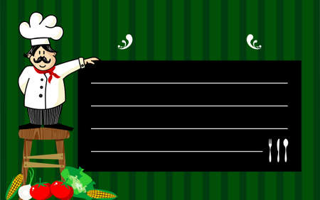 recommendations: Funny chef on a wooden bench, holding a blackboard where the recommendations are written daily. Vegetables at left corner. Striped green background.