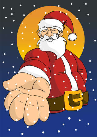 Christmas series postcard background: Cheerful Santa giving his right hand with moon in the background in a snowy sky. Vector