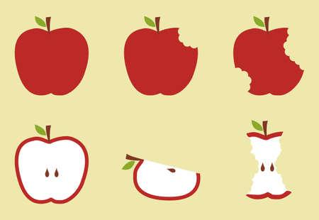 Manzanas mordidas fruta secuencia ilustración sobre fondo amarillo.
