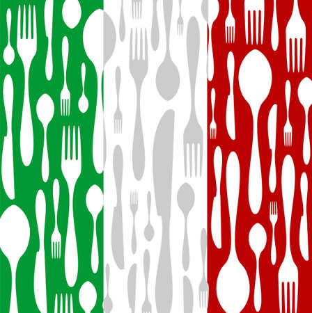 cuisine: Italian Cuisine. Cutlery silhouettes: spoon, knife and fork pattern on green, white and red wide striped background as an icon of the country flag.
