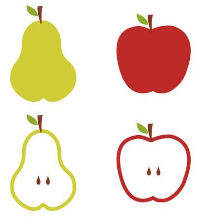poires: Pommes et poires patron des silhouettes sur fond blanc. Illustration