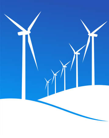 windturbine: Group of Windmills white silhouettes on blue background.