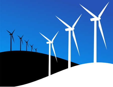 land development: Group of Windmills silhouettes on blue and black background. Stock Photo