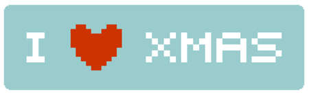 Pixeled illustration of a banner with a red heart icon and the words I LOVE Christmas