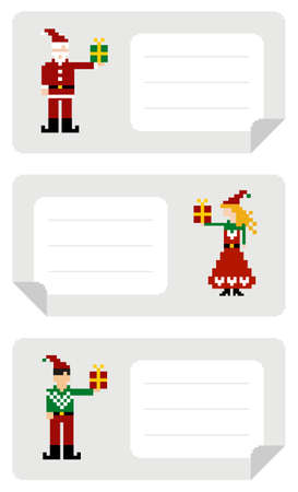 pixeled: Christmas stikers with different funny pixeled elf holding a gift.
