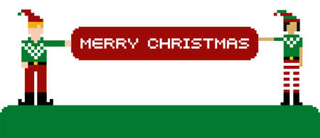 Two funny pixeled elves holding a Merry Xmas banner  Vector