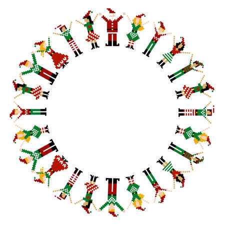 A circle of pixeled Xmas characters celebrating Christmas.  Vector