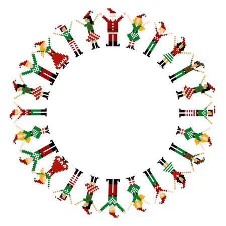 A circle of pixeled Xmas characters celebrating Christmas. Stock Vector - 8248412