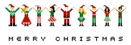 A group of pixeled xmas characters celebrating Christmas.  Vector