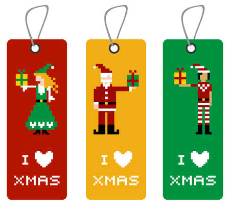 Christmas label with different funny season pixeled characters. Vector