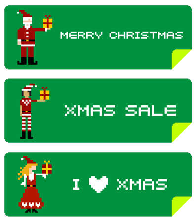 pixeled: Christmas labels with different funny season pixeled characters. Illustration