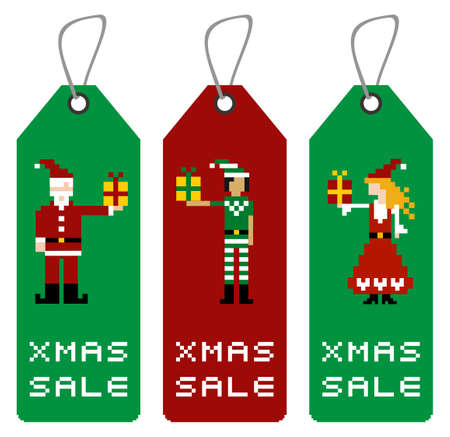 pixeled: Christmas tag with different funny season pixeled characters. Illustration
