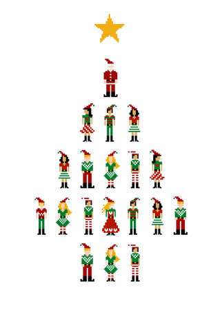 Christmas tree formed by different funny season pixeled characters. Vector