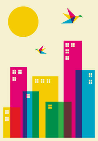 Spring time in the city. Full color humming birds flying over the city.  Vector