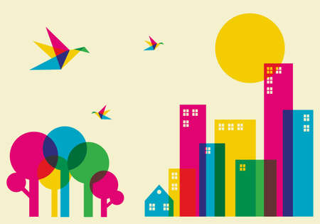 Spring time in the city. Full color humming birds flying over the forest and city.