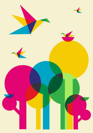 Spring time: multicolored humming birds playing in the forest.  Vector