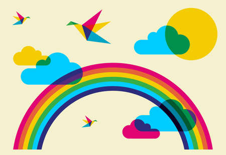 Spring time: full color humming birds, rainbow and clouds. Vector