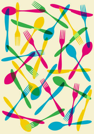 Food, restaurant, menu design background with cutlery silhouette background. Suitable as invitation dinner card.  Vector