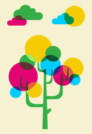 effervescent: Pink, Cyan, yellow, and green bubbles forming a tree illustration.