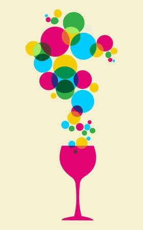 wijn en spijzen: Veelkleurige splash bubbels en glas achtergrond.