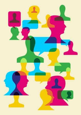 interacci�n: Burbujas multicolores y la interacci�n de cabezas humanas. Vectores