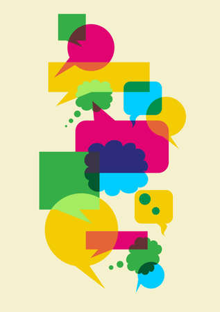 Interactive multicolored bubbles in different sizes and forms illustration. Vector