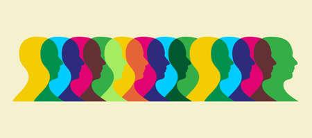 Multiple human heads interacting illustration.