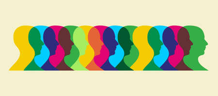 Multiple human heads interacting illustration.  Vector