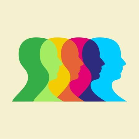 Interaction des têtes humaines multicolores.  Vecteurs