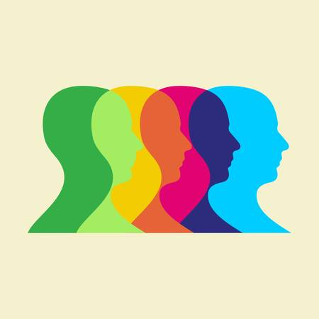 Multicolored human heads interacting. Stock Vector - 8719350