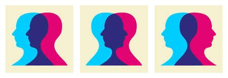 Dos humanos dirige ilustración interactúan entre sí. Ilustración de vector