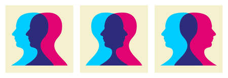 friends talking: Two human heads interacting illustration.
