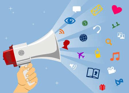 management concept: Red de negocios impulsi�n a trav�s de medios de comunicaci�n social