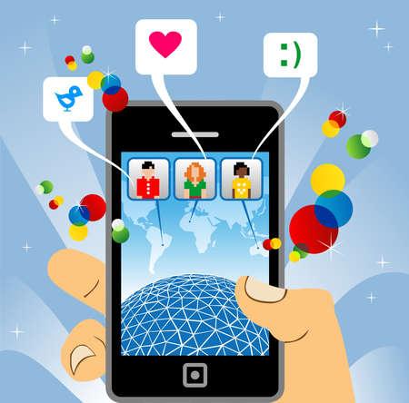 sociedade: conectado à rede social com o telefone móvel