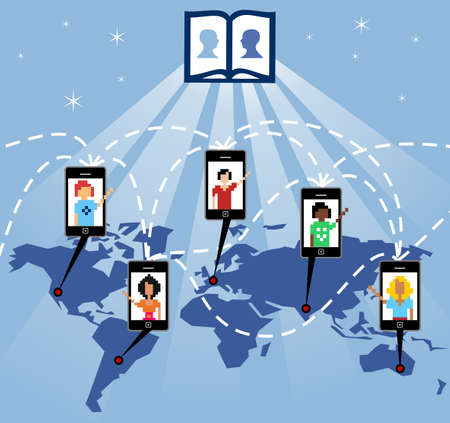 virtual technology: The mobile phone connects people worldwide through the social network Illustration