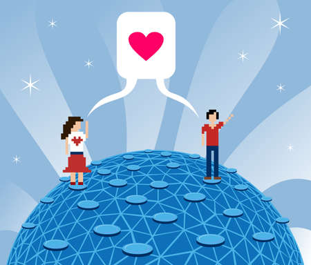 Social media today: fall in love over internet. Vector