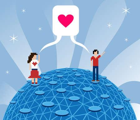 dating and romance: Sociali media oggi: fall in love su internet. Vettoriali