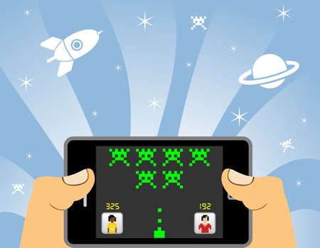games hand: Hands playing network games in a smart phone device. POV from the player