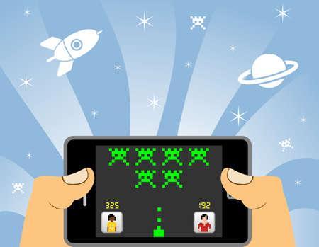 juego: Manos juegos de red en un dispositivo de tel�fono inteligente. POV del jugador