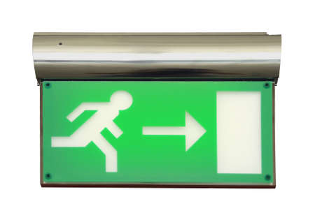 Emergency blinking exit sign over white background  photo