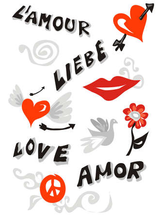 written text: Word love written in different languages and several cute icons.