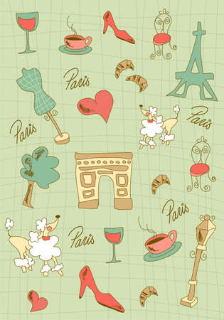 Hand made Paris icons on green background.  Vector