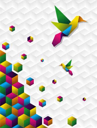 uccello origami: Silhoutte origami due colibri colorato con cubetti in movimento su bianco blackground  Vettoriali