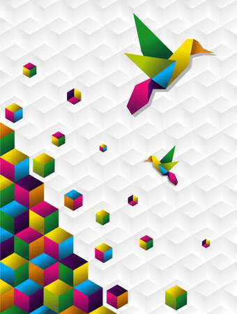 folding: Two colorful colibri origami silhoutte with cubes in motion on white blackground