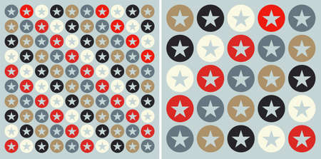 Pattern with circles and stars over lightblue background.  Vector