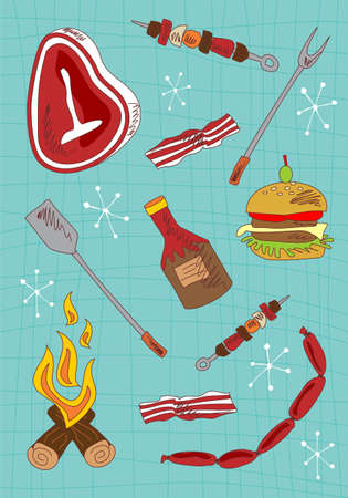roast lamb: Barbecue hand draw icons set on green background.  Stock Photo