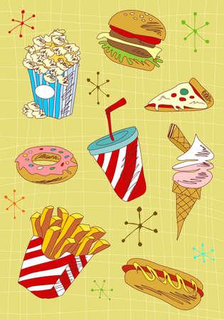 Cartoon style fast food icons set illustration. illustration