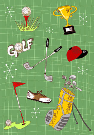 golfing: Hand drawn golf icons set.  Stock Photo